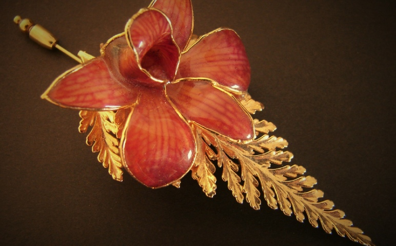 Fern Leaf and Orchid stick pin