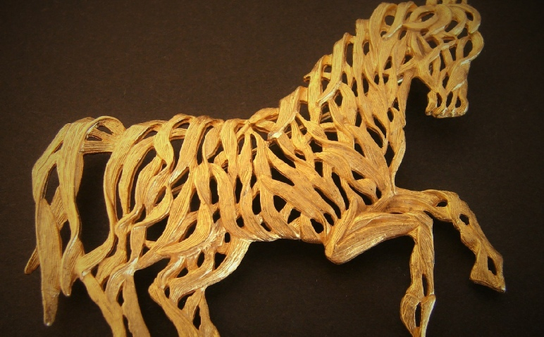 Galloping Horse pin signed JJ