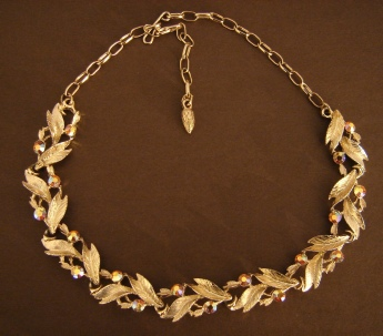 Aurora Borealis and gold tone leaves necklace