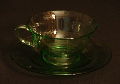 Depression Green Glass 7 Cups, 8 Saucers and a Sugar