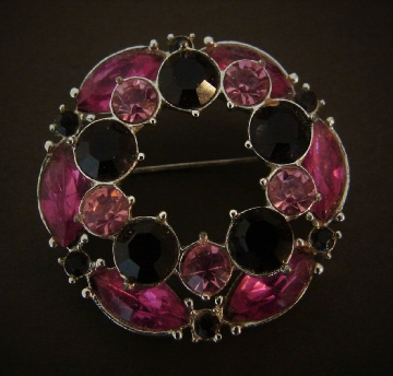 Emmons pink and red rhinestone brooch pin