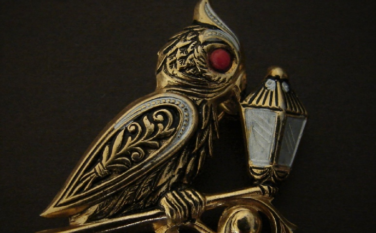 gold tone Owl with Lamp pin marked Spain