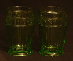 Jeannette Glass Green Depression 12 oz. Footed Tumblers