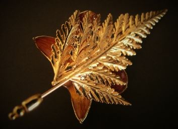 vintage orchid and fern pin, back