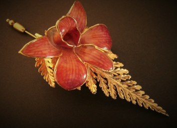 vintage orchid and fern pin