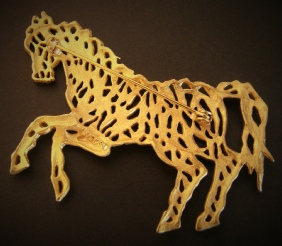 JJ galloping horse pin brooch, brushed gold tone back